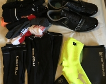 Over-shoes and socks, arm and leg warmers, shoes and lots of socks!